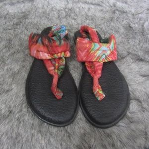 Sanuk Yoga Sling Fabric Sandals Size 10